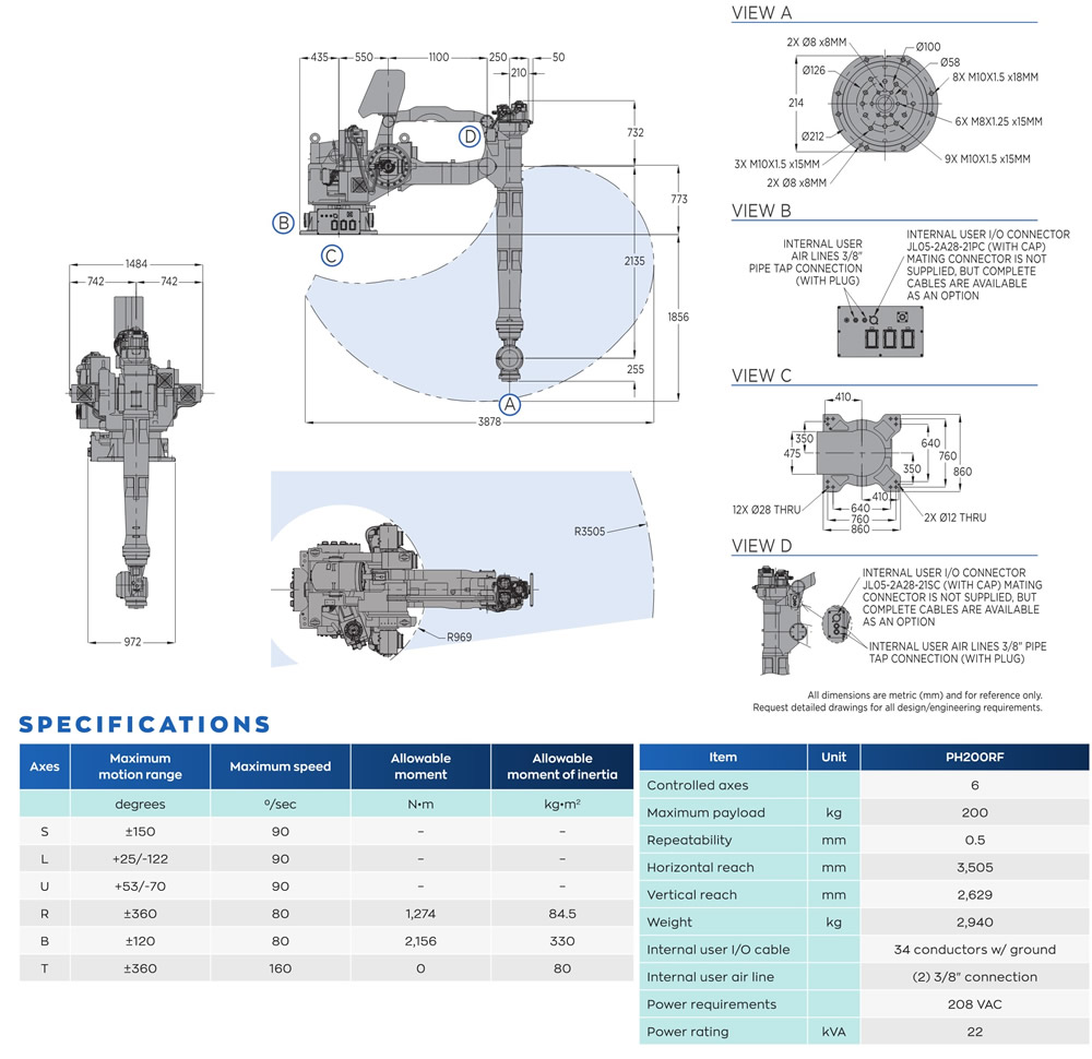 Specifications for Motoman PH200RF press handling robot