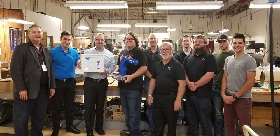Yaskawa Motoman visits Beistle Company in Shippensburg, PA to deliver the MotoMini robot they won at the Automate 2019 show.