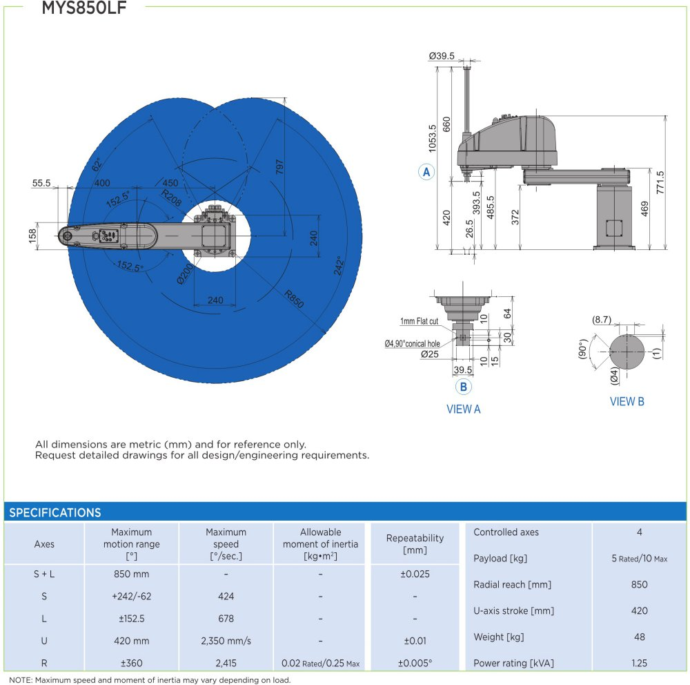 MYS850LF robot spec diagram