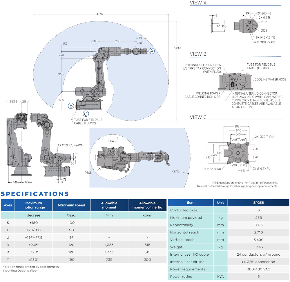 SP235 robot spec diagram